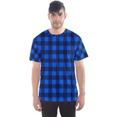 Blue And Black Plaid Pattern Men s Sport Mesh Tee by Valentinaart