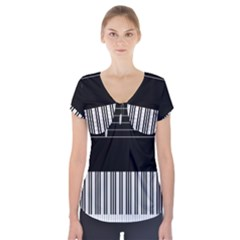 Piano Keyboard With Notes Vector Short Sleeve Front Detail Top by Nexatart