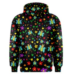 Butterflies And Flowers Pattern Men s Zipper Hoodie by Valentinaart
