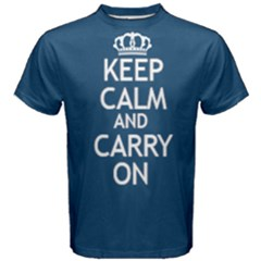 Blue Keep Calm And Carry On Tee  by FunnySaying