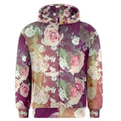 Pink Pastel Roses Men s Zipper Hoodie by Brittlevirginclothing