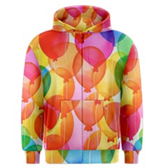 Rainbow Balloon Men s Zipper Hoodie by Brittlevirginclothing