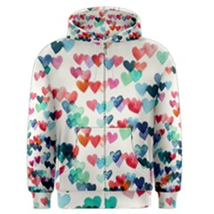 Cute Rainbow Hearts Men s Zipper Hoodie by Brittlevirginclothing