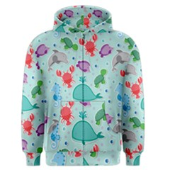 Turtle Crab Dolphin Whale Sea World Whale Water Blue Animals Men s Zipper Hoodie