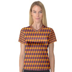 Geometric Plaid Red Orange Women s V Neck Sport Mesh Tee