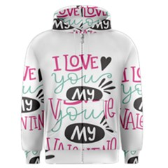 I Love You My Valentine (white) Our Two Hearts Pattern (white) Men s Zipper Hoodie by FashionFling