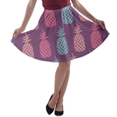 Pineapple Pattern  A Line Skater Skirt by Nexatart