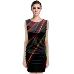 Rainbow Ribbons Sleeveless Velvet Midi Dress by Nexatart