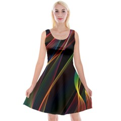 Rainbow Ribbons Reversible Velvet Sleeveless Dress by Nexatart