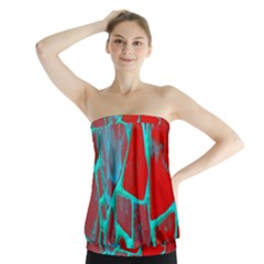 Red Marble Background Strapless Top by Nexatart