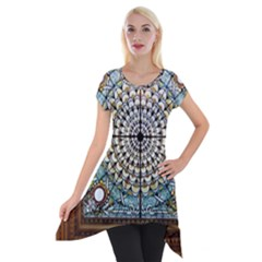 Stained Glass Window Library Of Congress Short Sleeve Side Drop Tunic by Nexatart