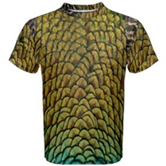 Peacock Bird Feather Gold Blue Brown Men s Cotton Tee