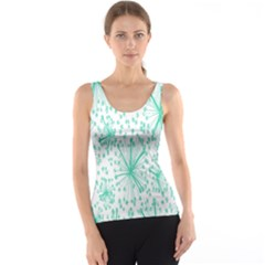 Spring Floral Green Flower Tank Top