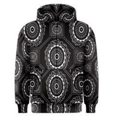 Circle Plaid Black Floral Men s Zipper Hoodie