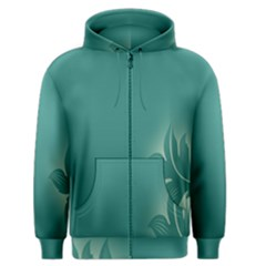 Leaf Green Blue Branch  Texture Thread Men s Zipper Hoodie