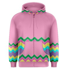 Easter Chevron Pattern Stripes Men s Zipper Hoodie by Amaryn4rt