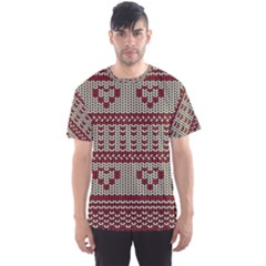 Stitched Seamless Pattern With Silhouette Of Heart Men s Sport Mesh Tee