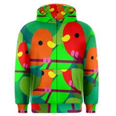 Animals Birds Red Orange Green Leaf Tree Men s Zipper Hoodie