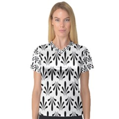 Floral Black White Women s V Neck Sport Mesh Tee