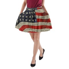 Vintage American Flag A Line Pocket Skirt by Valentinaart
