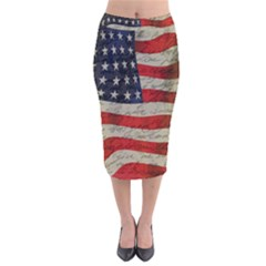 Vintage American Flag Velvet Midi Pencil Skirt by Valentinaart