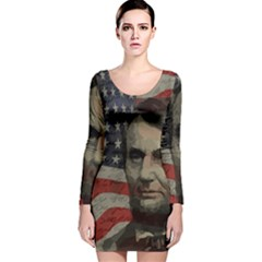 Lincoln Day  Long Sleeve Velvet Bodycon Dress by Valentinaart