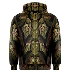 Fractal Abstract Patterns Gold Men s Zipper Hoodie by Simbadda