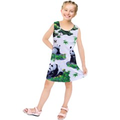 Cute Panda Cartoon Kids  Tunic Dress by Simbadda
