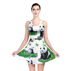 Cute Panda Cartoon Reversible Skater Dress by Simbadda