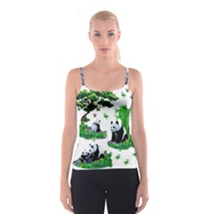 Cute Panda Cartoon Spaghetti Strap Top by Simbadda