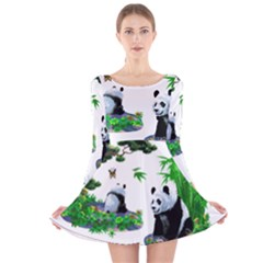 Cute Panda Cartoon Long Sleeve Velvet Skater Dress by Simbadda