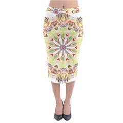 Intricate Flower Star Midi Pencil Skirt by Alisyart