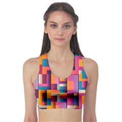 Abstract Background Geometry Blocks Sports Bra by Simbadda