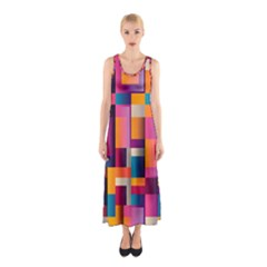 Abstract Background Geometry Blocks Sleeveless Maxi Dress by Simbadda