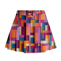 Abstract Background Geometry Blocks Mini Flare Skirt by Simbadda