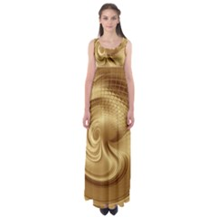 Gold Background Texture Pattern Empire Waist Maxi Dress by Simbadda