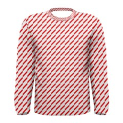 Pattern Red White Background Men s Long Sleeve Tee by Simbadda