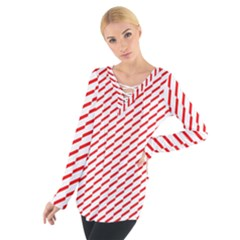 Pattern Red White Background Women s Tie Up Tee by Simbadda