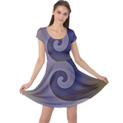 Logo Wave Design Abstract Cap Sleeve Dresses by Simbadda
