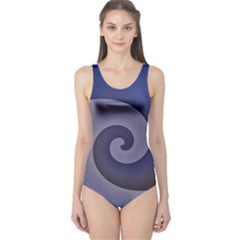 Logo Wave Design Abstract One Piece Swimsuit by Simbadda