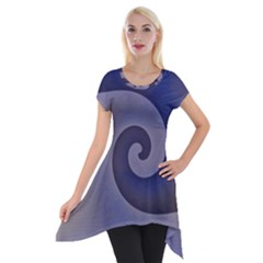 Logo Wave Design Abstract Short Sleeve Side Drop Tunic by Simbadda