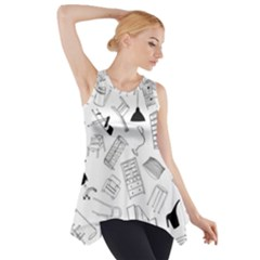 Furniture Black Decor Pattern Side Drop Tank Tunic by Simbadda