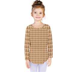 Pattern Gingerbread Brown Kids  Long Sleeve Tee by Simbadda