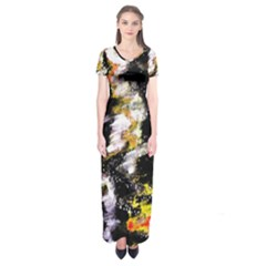 Canvas Acrylic Digital Design Short Sleeve Maxi Dress by Simbadda