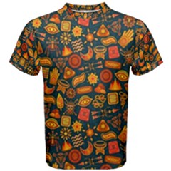 Pattern Background Ethnic Tribal Men s Cotton Tee by Simbadda