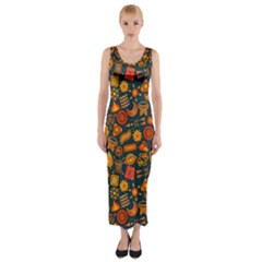 Pattern Background Ethnic Tribal Fitted Maxi Dress by Simbadda