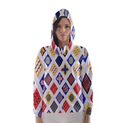 Plaid Triangle Sign Color Rainbow Hooded Wind Breaker (women) by Alisyart
