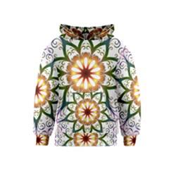 Prismatic Flower Floral Star Gold Green Purple Kids  Pullover Hoodie by Alisyart