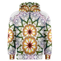 Prismatic Flower Floral Star Gold Green Purple Men s Zipper Hoodie by Alisyart