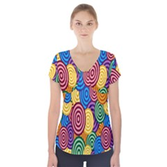 Circles Color Yellow Purple Blu Pink Orange Illusion Short Sleeve Front Detail Top by Alisyart
